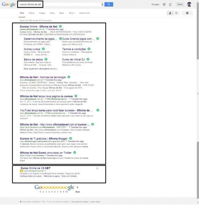 """SERP para o termo """"cursos oficina da net""""."""