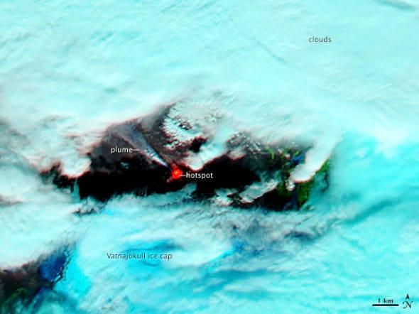 Nasa divulga imagens do vulcão Bardarbunga em erupção