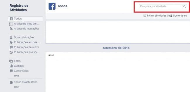 Como excluir os registros de atividades do Facebook