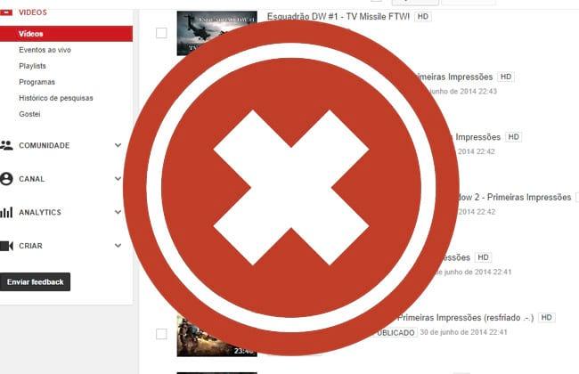 Como excluir um vídeo do YouTube?