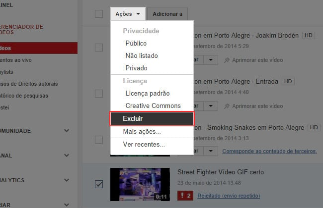 Como excluir um vídeo do YouTube?