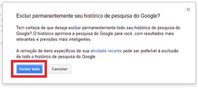 Como limpar histórico de buscas do Google