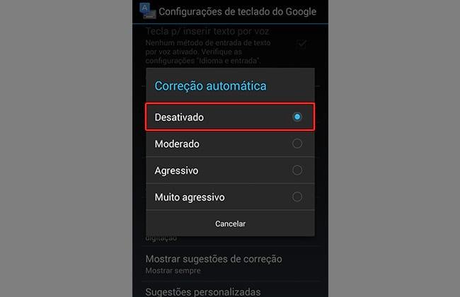 Como desabilitar o corretor ortográfico no Android?