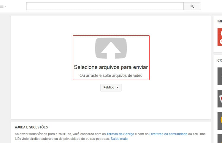 Como enviar um vídeo para o YouTube?