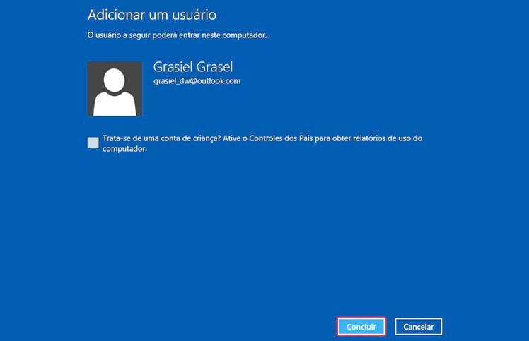 Como criar uma conta de usuário no Windows 8?