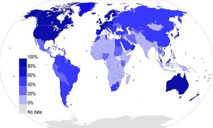 Porcentagem de usuários da internet em relação a população total do país