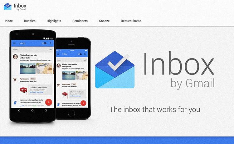 """App Gmail  deve ser trocado pelo aplicativo """"Inbox"""""""