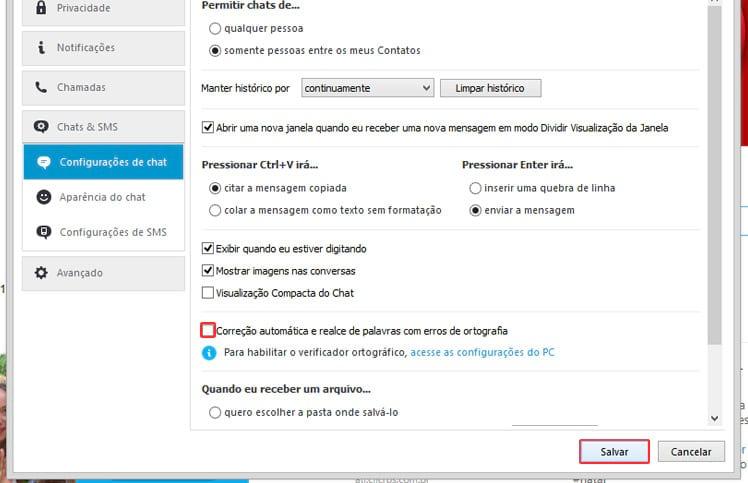 Como desabilitar o corretor ortográfico do Skype?