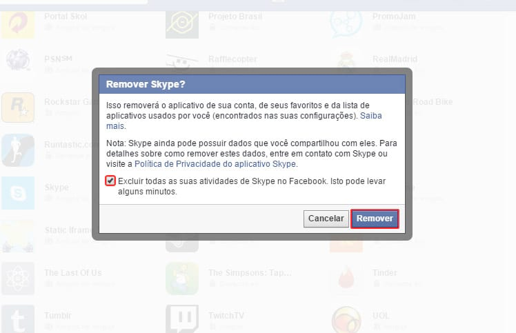 Como desconectar o Facebook do Skype?