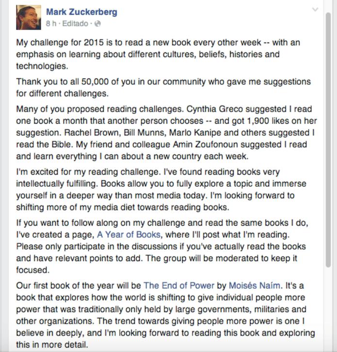 Após ser desafiado, Zuckerberg cria nova página no Facebook