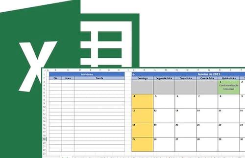 Calendário e agendador de tarefas e contas 2015 no Excel