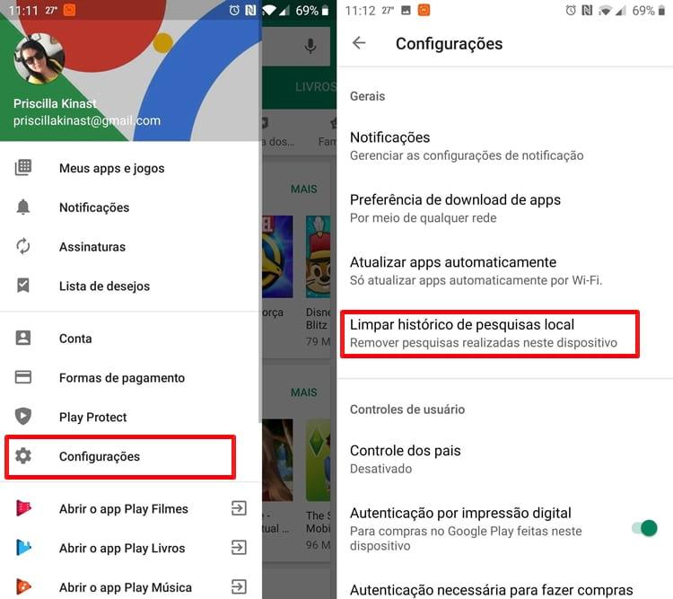 Limpar histórico de pesquisa da Google Play Store