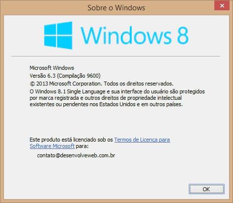 Versão do nosso sistema, rodando o Windows 8.1