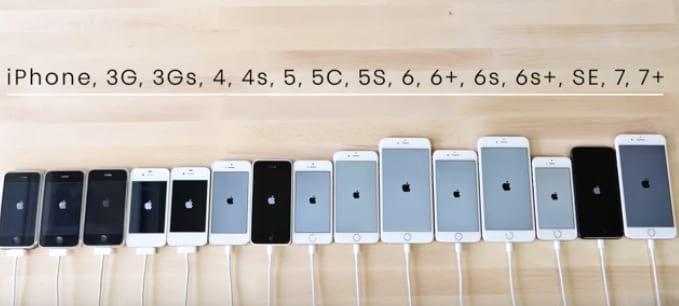 Todos os iPhone's lançados até junho de 2017