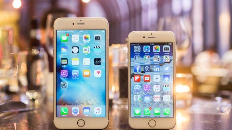 Comparação de tamanho entre o iPhone 6S plus e 6S