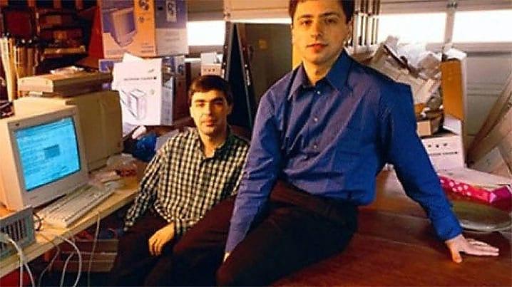 Larry Page e Sergey Brin nos primórdios do Google