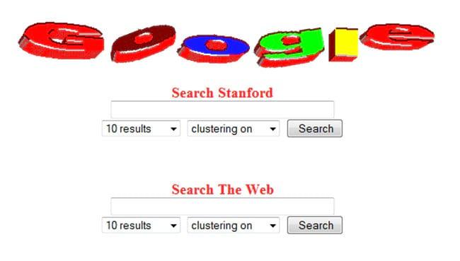 Primeira versão do Google, ainda hospedado no site da Universidade de Stanford