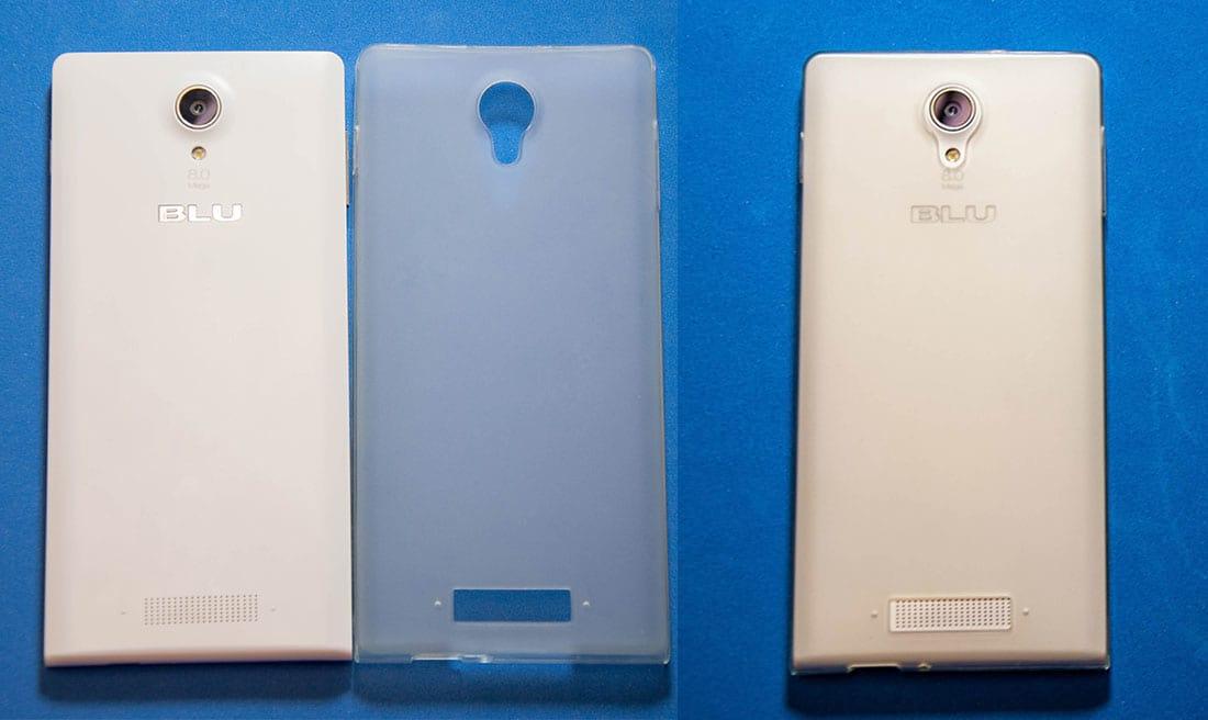 À esquerda, a capinha e o Blu, e à direita ela equipada.