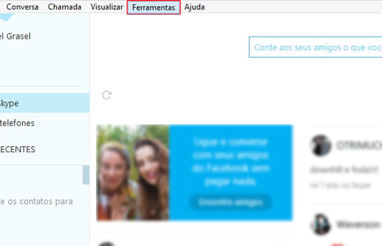 Como mudar a pasta de downloads do Skype?