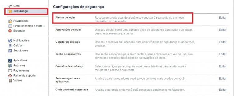 Como saber se alguém entrou na sua conta do Facebook