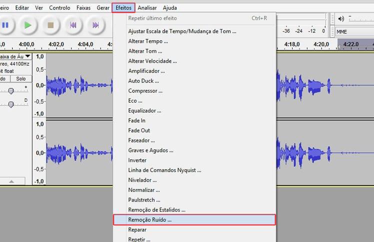 Como remover o ruído de um áudio no Audacity?