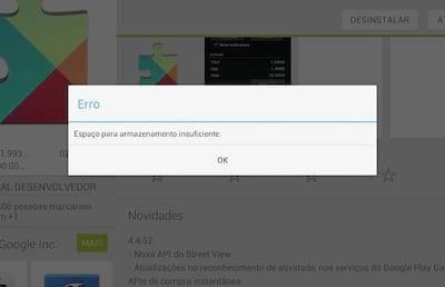 Como resolver o problema do Android com espa�o insuficiente?
