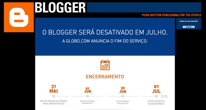 Blogger Brasil deixará de existir a partir de Julho