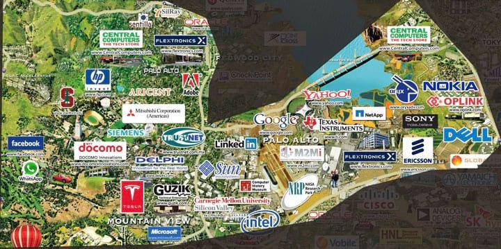 Conheça o mapa do Vale do Silício e suas principais empresas