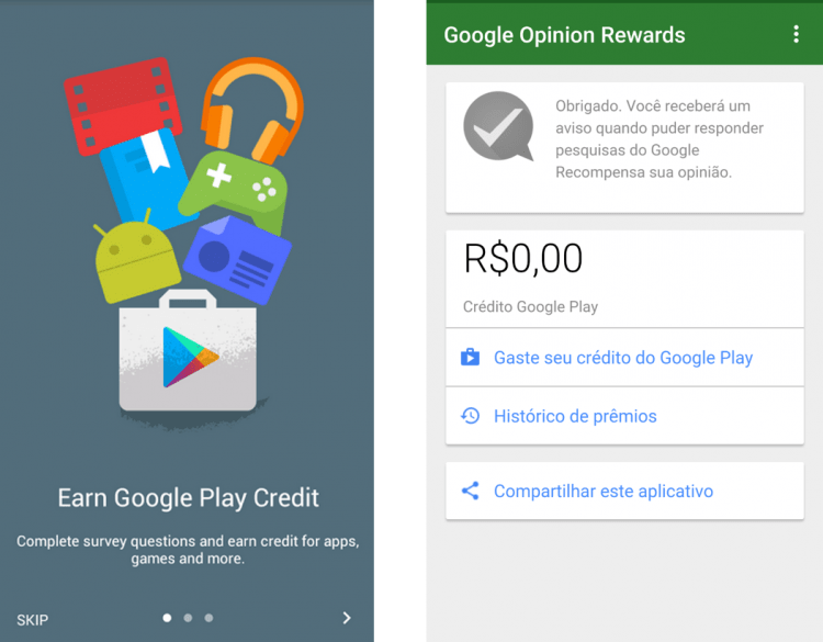 Google Opinion Rewards chega ao Brasil