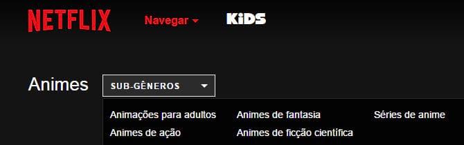 Como navegar no Netflix por categorias?
