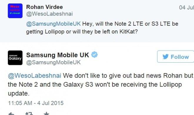 Android Lollipop não chegará para Galaxy Note 2 e Galaxy S3, afirma a Samsung