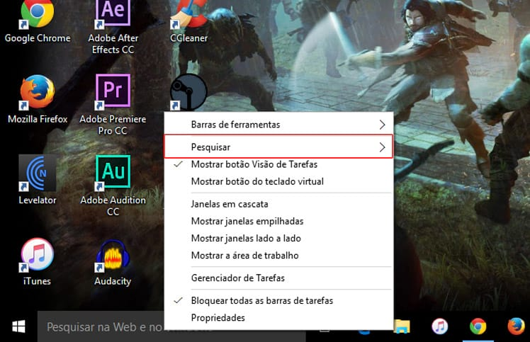 Como ocultar a barra de pesquisas do Windows 10?