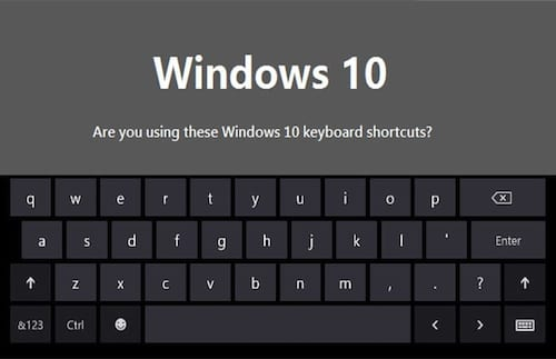 Novos atalhos de teclado do Windows 10