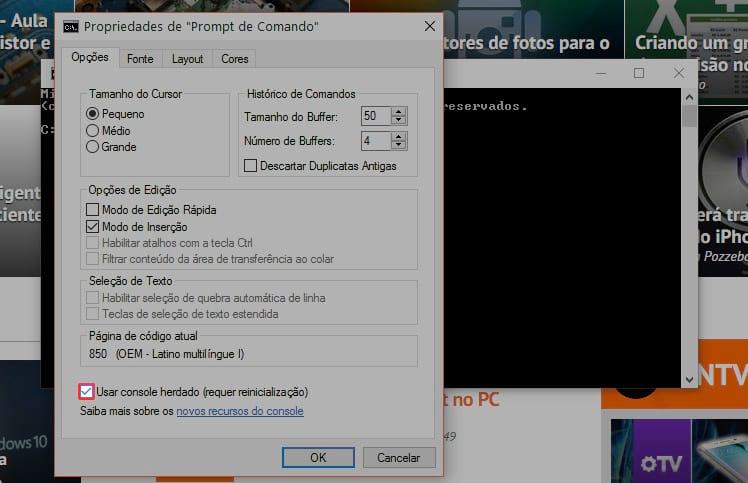 Atalhos de teclado para o Prompt de Comando do Windows 10