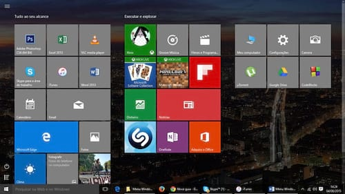 Usando menu estilo Windows 8 no Windows 10