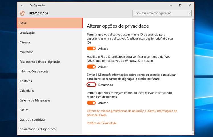 Como garantir minha privacidade no Windows 10?