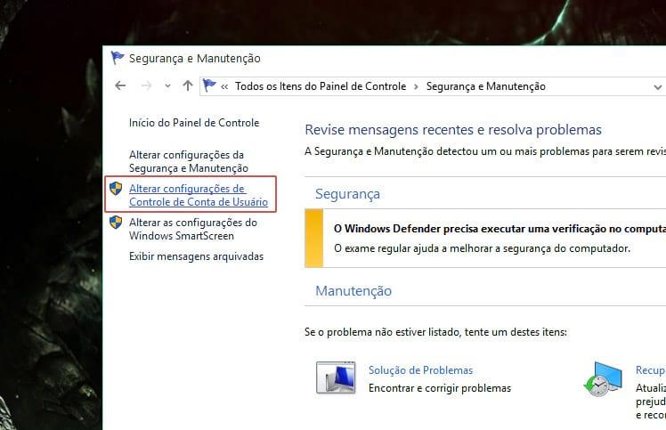 Como desativar o Controle de Conta de Usuário do Windows 10?