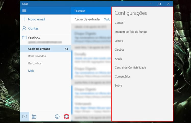 Como configurar contas de email no app nativo do Windows 10?
