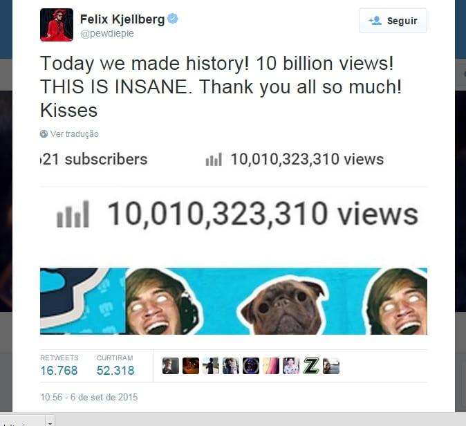 PewDiePie ultrapassa novo recorde: 10 bilhões de visualizações no YouTube