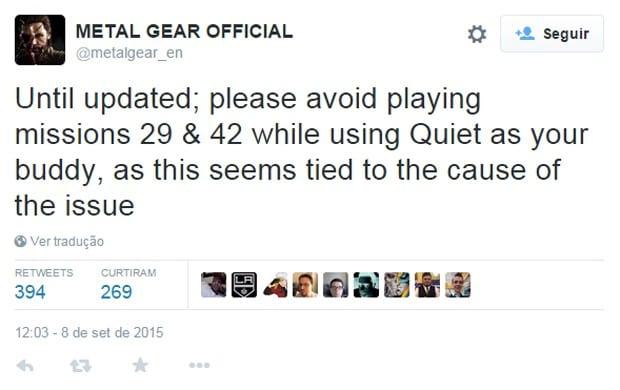 Konami alerta sobre bug em Metal Gear Solid V: The Phantom Pain