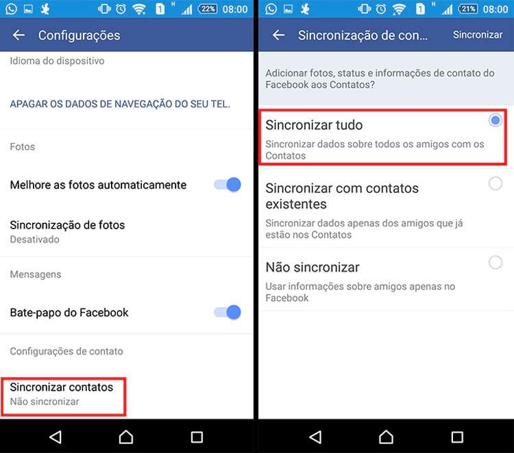 Como importar seus contatos do Facebook para a agenda