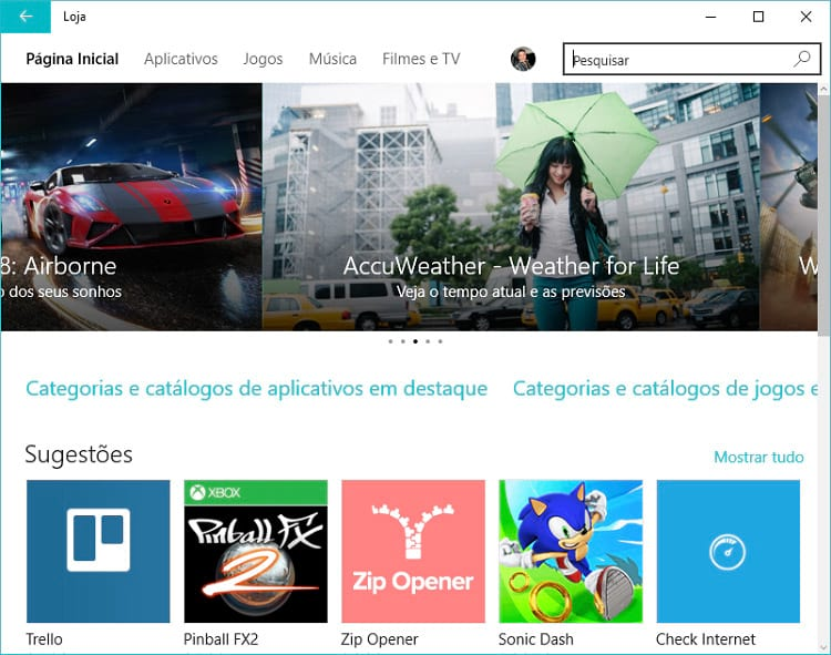 Windows 10: Windows Store – Loja de Aplicativos