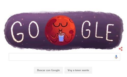 Doodle do Google exibe Marte com copo e canudo