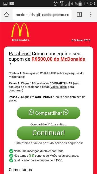 Golpe no WhatsApp usa McDonalds como isca