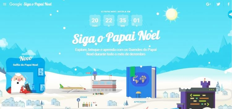 Siga o Papai Noel através do Google Santa Tracker
