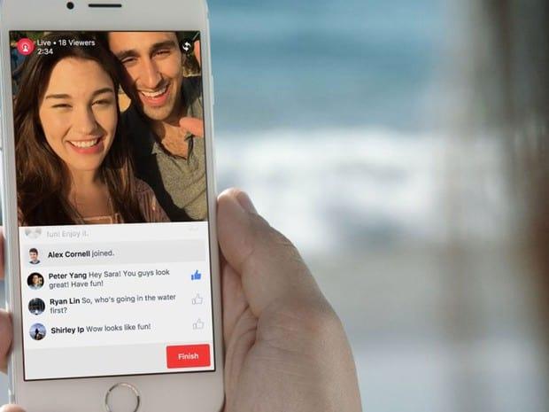 Usuários podem fazer vídeos ao vivo através do Facebook