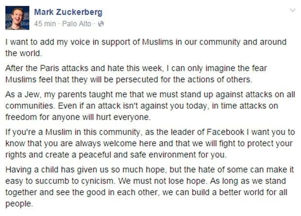 Em texto, Zuckerberg apoia muçulmanos