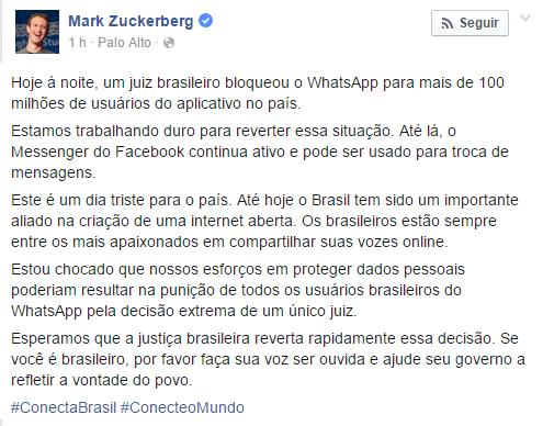 Bloqueio do WhatsApp: Zuckerberg lamenta pelo Brasil