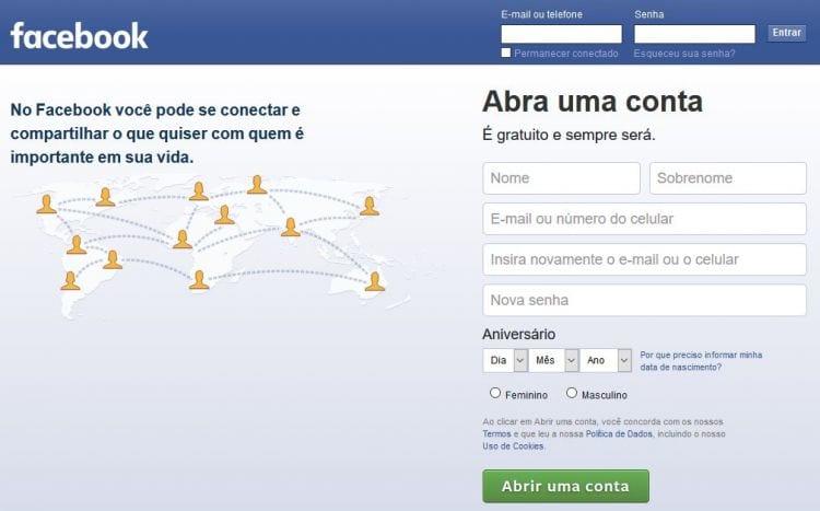Como criar Facebook?