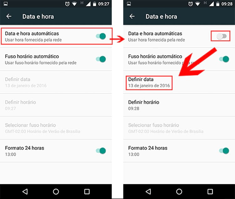 Como alterar a data no Android